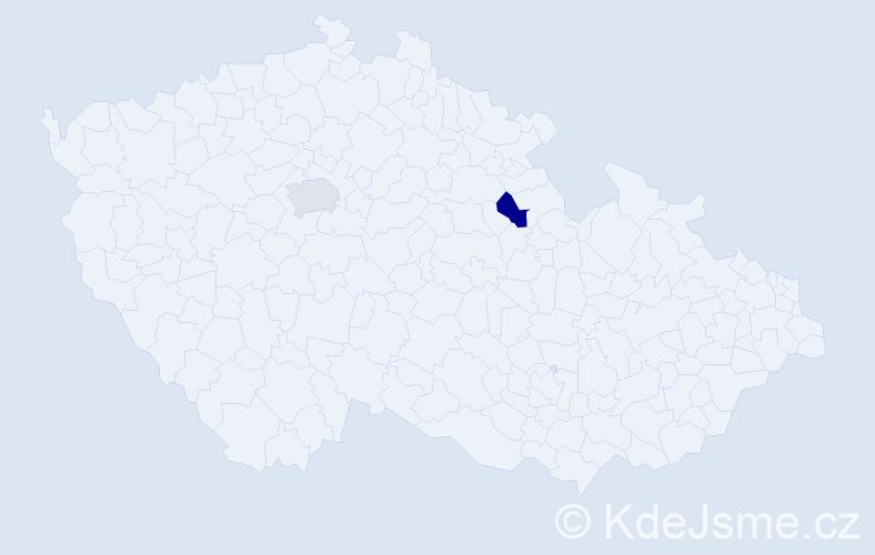 Příjmení: 'Jenelová', počet výskytů 2 v celé ČR
