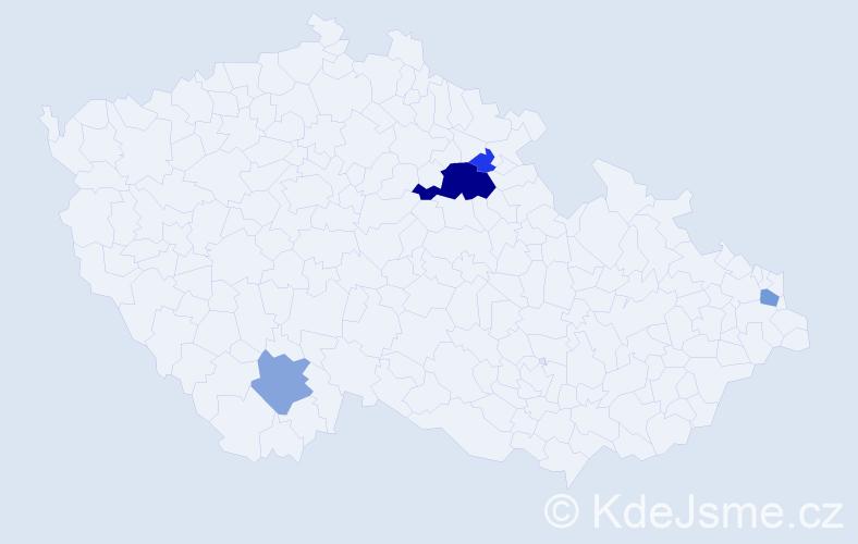 Příjmení: 'Gápová', počet výskytů 13 v celé ČR