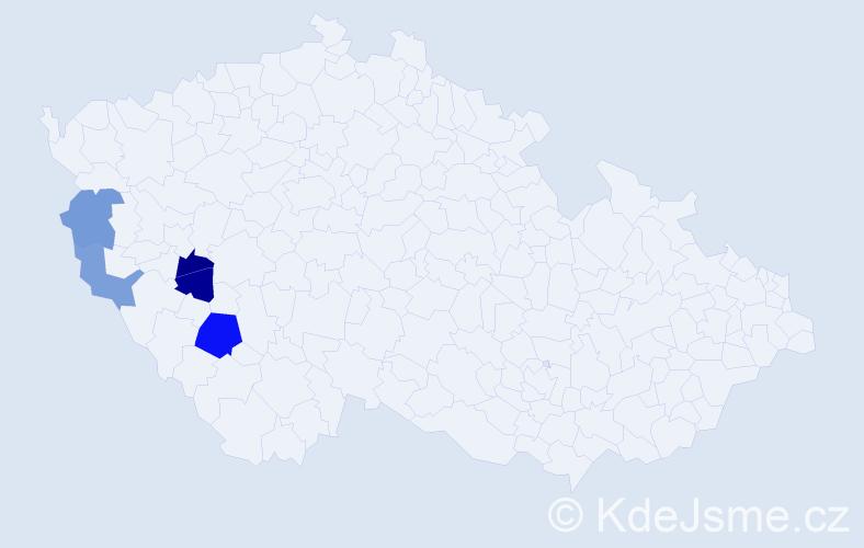 Příjmení: 'Čínovcová', počet výskytů 7 v celé ČR