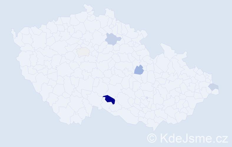 Příjmení: 'Bebjaková', počet výskytů 7 v celé ČR