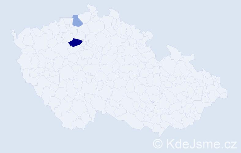 Příjmení: 'Bolfik', počet výskytů 3 v celé ČR