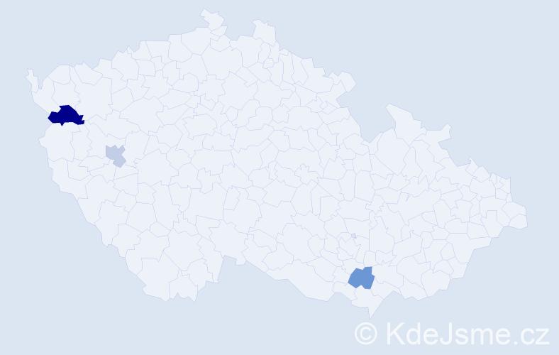 Příjmení: 'Imrichovský', počet výskytů 4 v celé ČR