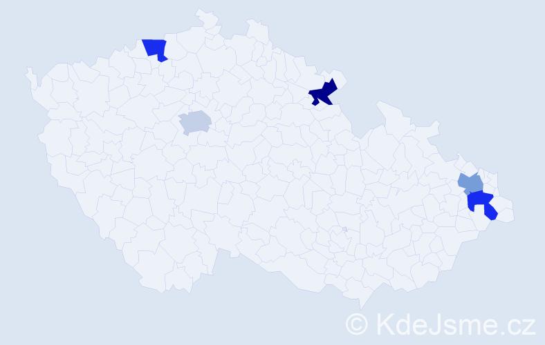 Příjmení: 'Dau', počet výskytů 5 v celé ČR