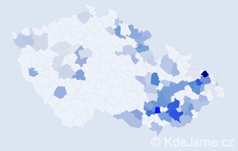 Příjmení: 'Klučka', počet výskytů 284 v celé ČR