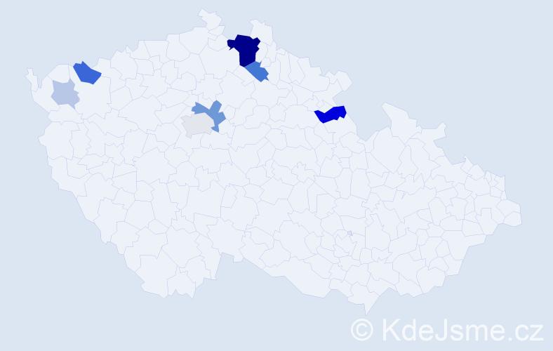 Příjmení: 'Hrabar', počet výskytů 24 v celé ČR