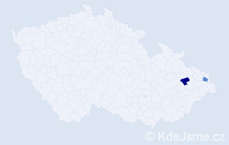 Příjmení: 'Demikát', počet výskytů 3 v celé ČR