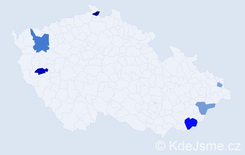 Příjmení: 'Kaprálik', počet výskytů 8 v celé ČR