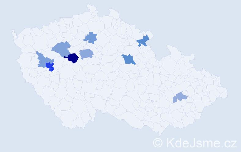 Příjmení: 'Lehár', počet výskytů 29 v celé ČR