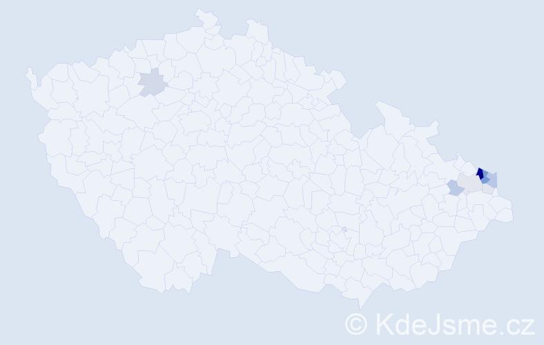 Příjmení: 'Fismol', počet výskytů 24 v celé ČR