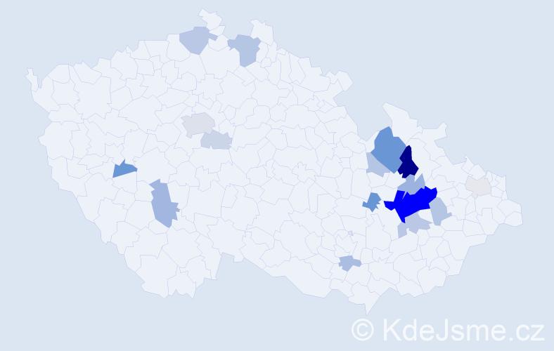 Příjmení: 'Gažarová', počet výskytů 56 v celé ČR