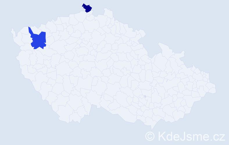Příjmení: 'Geňo', počet výskytů 5 v celé ČR