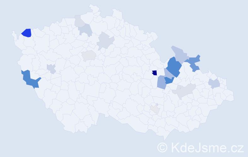 Příjmení: 'Holínka', počet výskytů 40 v celé ČR