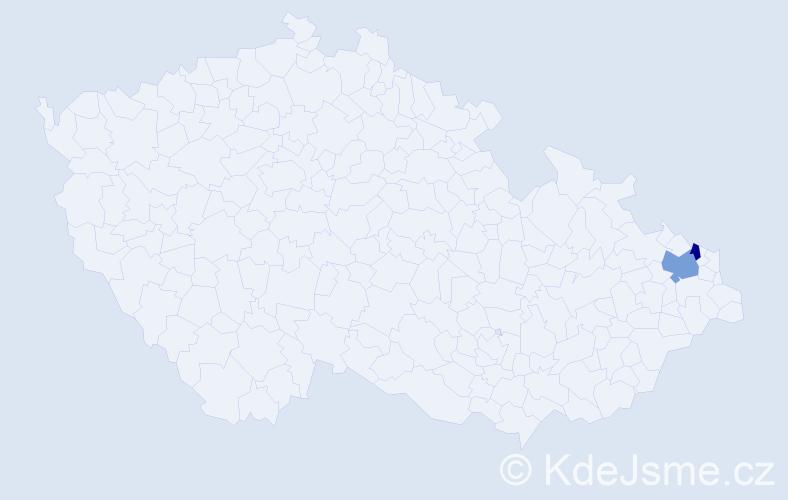Příjmení: 'Dolasová', počet výskytů 6 v celé ČR