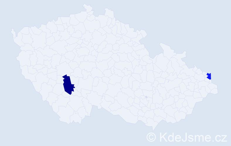 Příjmení: 'Bencsíková', počet výskytů 2 v celé ČR