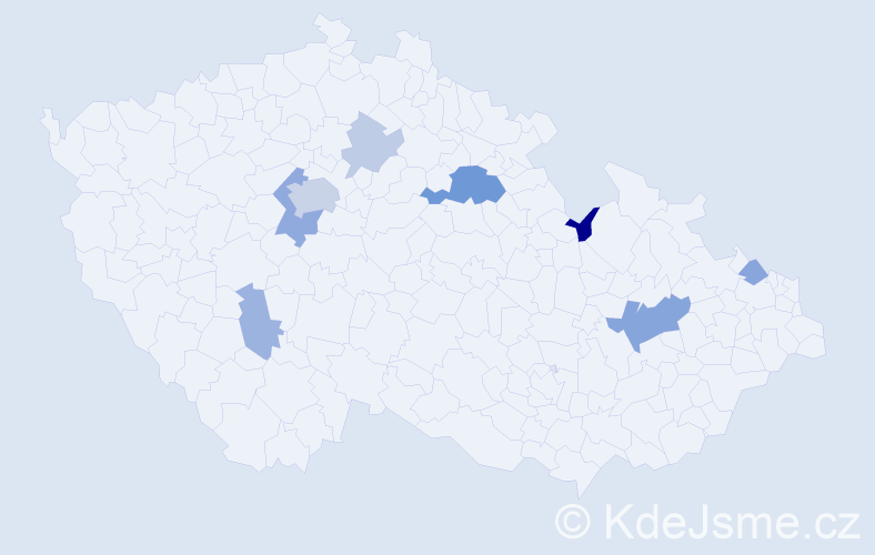 Příjmení: 'Ettelová', počet výskytů 19 v celé ČR