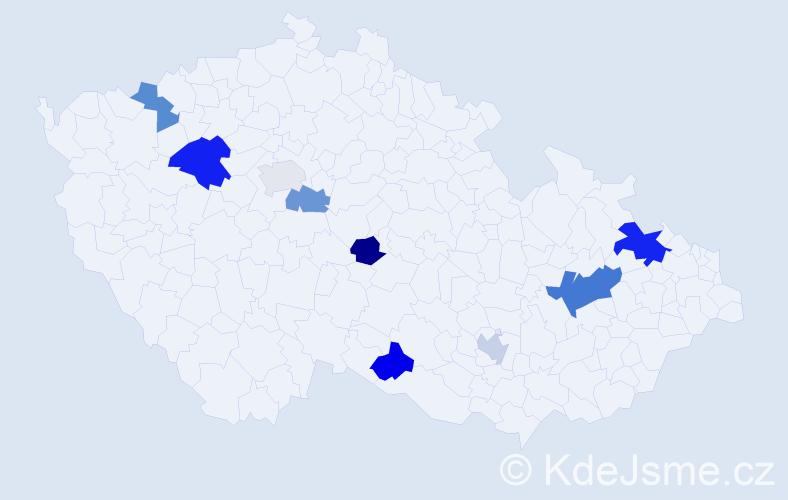 Příjmení: 'Kederová', počet výskytů 14 v celé ČR