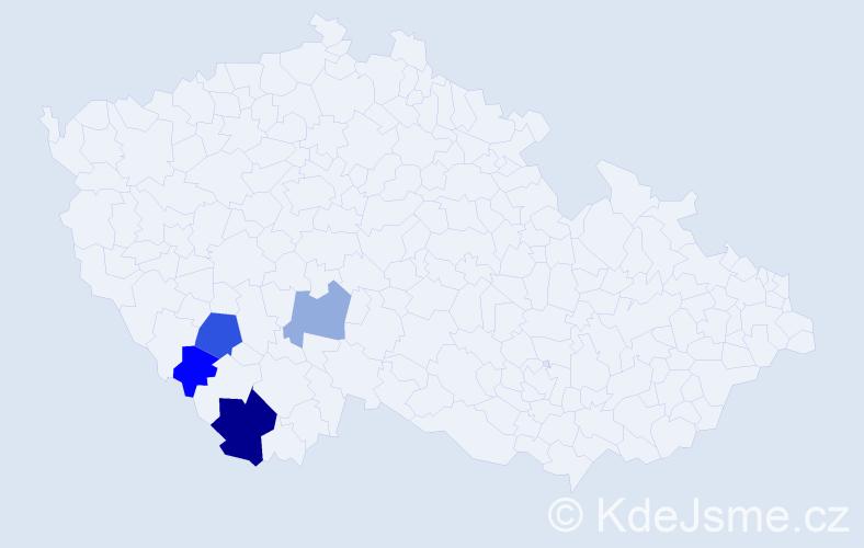 Příjmení: 'Čerová', počet výskytů 7 v celé ČR
