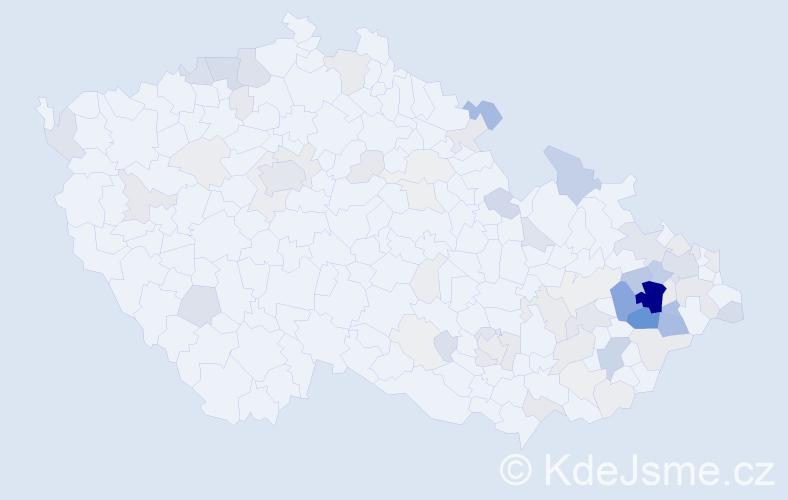 Příjmení: 'Hubová', počet výskytů 276 v celé ČR