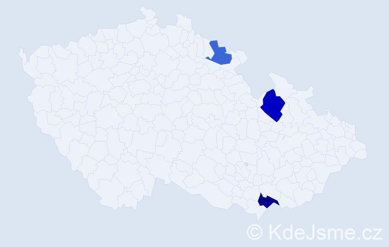Příjmení: 'Anovčínová', počet výskytů 13 v celé ČR