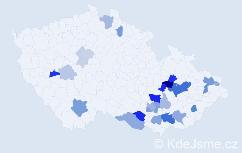 Příjmení: 'Jevický', počet výskytů 68 v celé ČR
