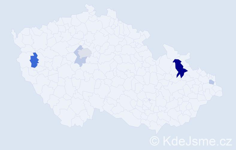 Příjmení: 'Lajčak', počet výskytů 10 v celé ČR