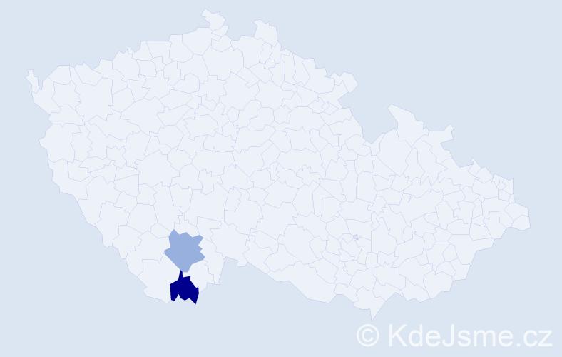 Příjmení: 'Dočolomanský', počet výskytů 2 v celé ČR