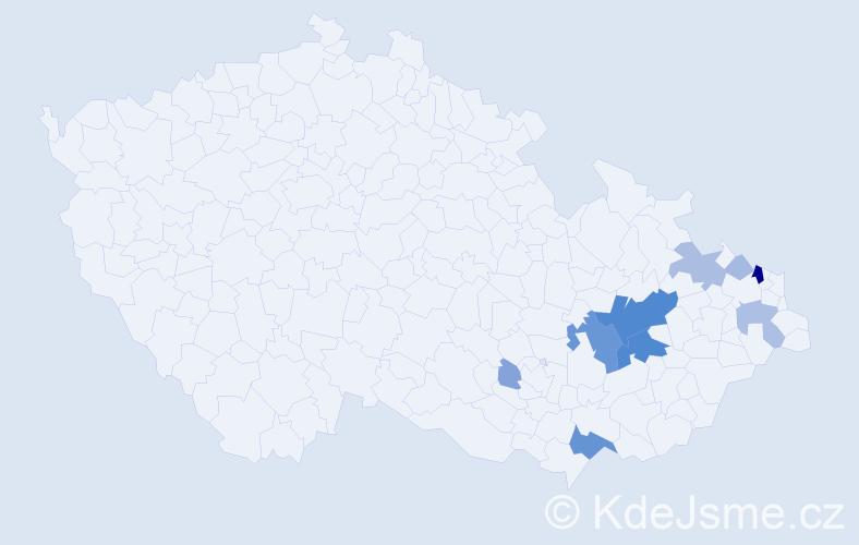 Příjmení: 'Chorý', počet výskytů 35 v celé ČR