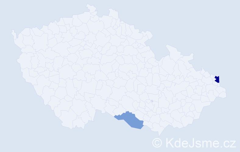Příjmení: 'Gonščák', počet výskytů 4 v celé ČR