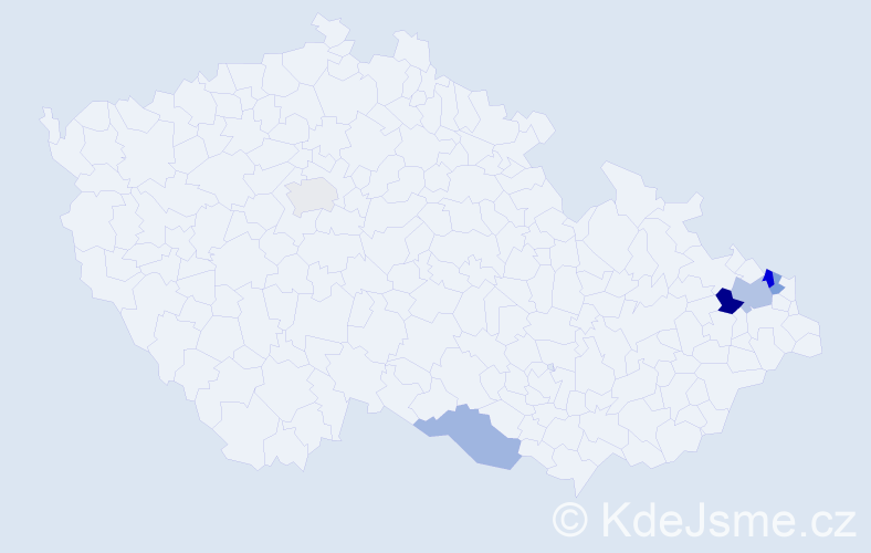 Příjmení: 'Gonsorčík', počet výskytů 9 v celé ČR