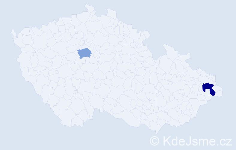 Příjmení: 'Jakovenková', počet výskytů 3 v celé ČR