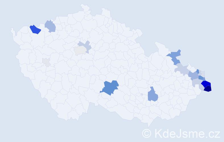 Příjmení: 'Latochová', počet výskytů 76 v celé ČR