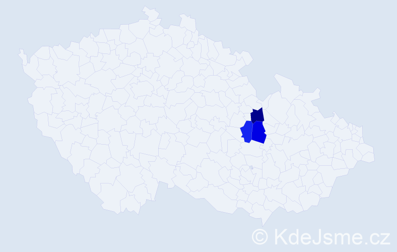 """Příjmení: '""""Cina Šivák""""', počet výskytů 3 v celé ČR"""