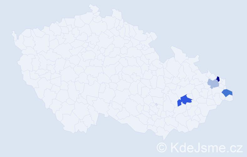 Příjmení: 'Ciprichová', počet výskytů 9 v celé ČR