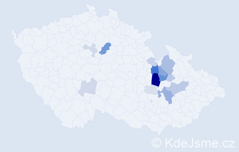 Příjmení: 'Elner', počet výskytů 49 v celé ČR