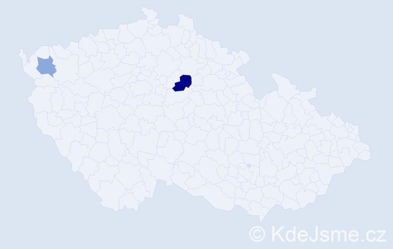 Příjmení: 'Csicsayová', počet výskytů 3 v celé ČR