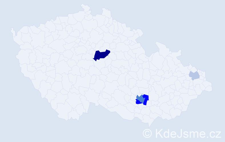 Příjmení: 'Karaivanov', počet výskytů 11 v celé ČR