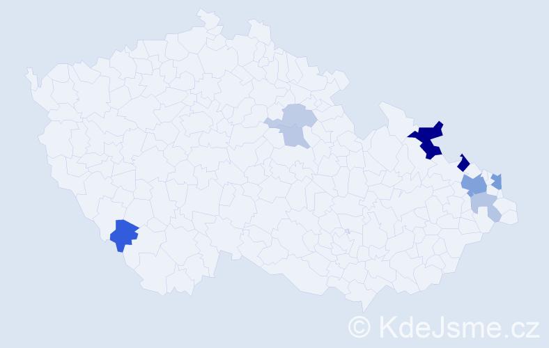 Příjmení: 'Kabaštová', počet výskytů 17 v celé ČR