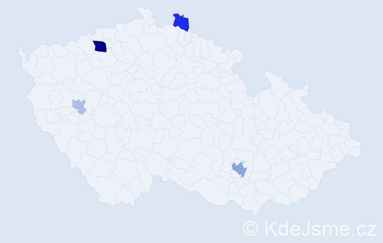 Příjmení: 'Jestřábková', počet výskytů 9 v celé ČR