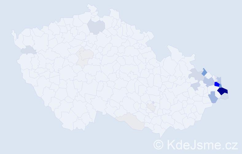 Příjmení: 'Kubiczek', počet výskytů 157 v celé ČR