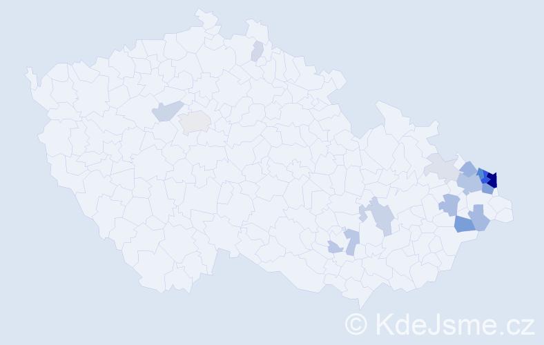 Příjmení: 'Bura', počet výskytů 64 v celé ČR