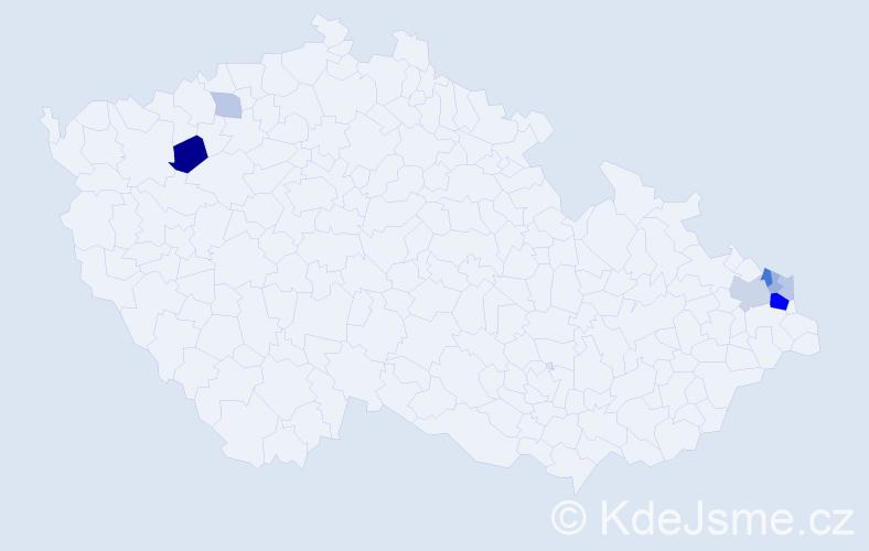 Příjmení: 'Kominek', počet výskytů 17 v celé ČR
