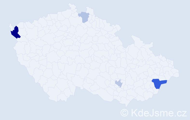 Příjmení: 'Alberti', počet výskytů 10 v celé ČR