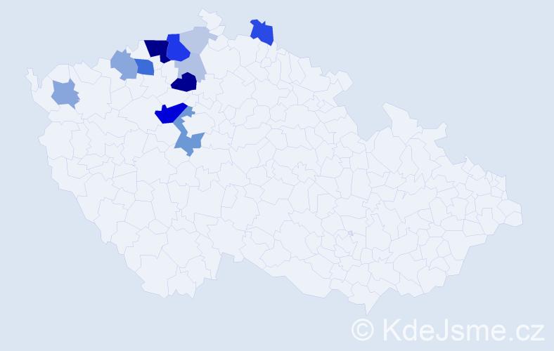 Příjmení: 'Čikalová', počet výskytů 50 v celé ČR