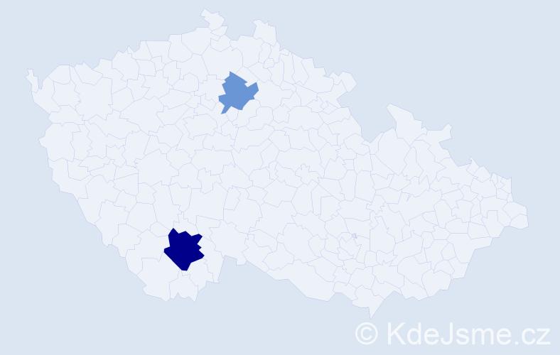 Příjmení: 'Čurnová', počet výskytů 9 v celé ČR