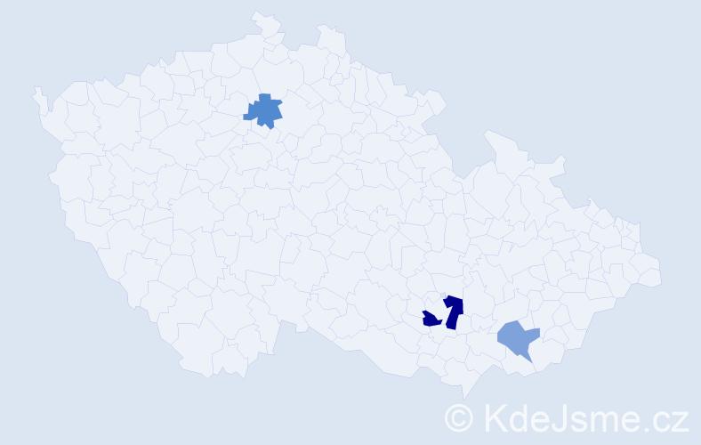 Příjmení: 'Birca', počet výskytů 5 v celé ČR