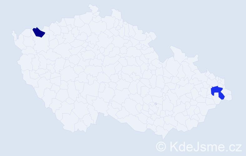 Příjmení: 'Esterházy', počet výskytů 3 v celé ČR