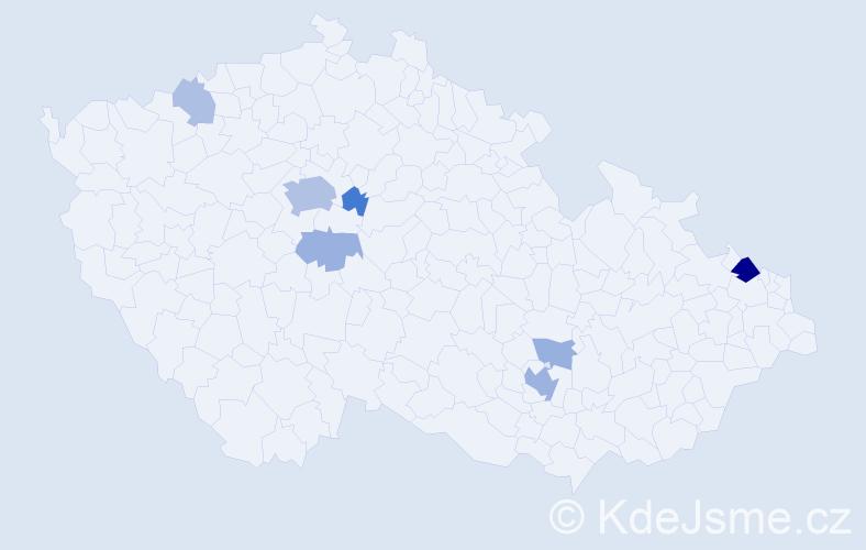 Příjmení: 'Cima', počet výskytů 21 v celé ČR
