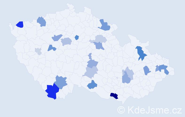 Příjmení: 'Ivanko', počet výskytů 42 v celé ČR