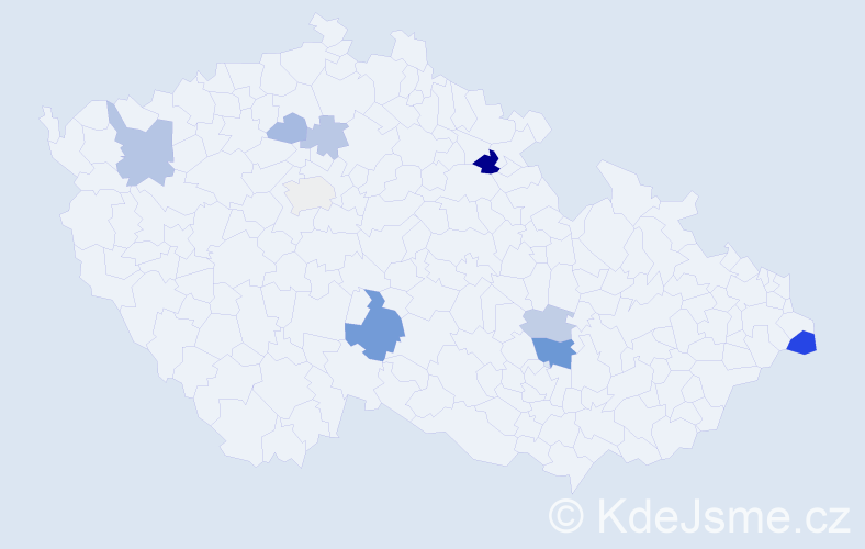 Příjmení: 'Kudri', počet výskytů 20 v celé ČR