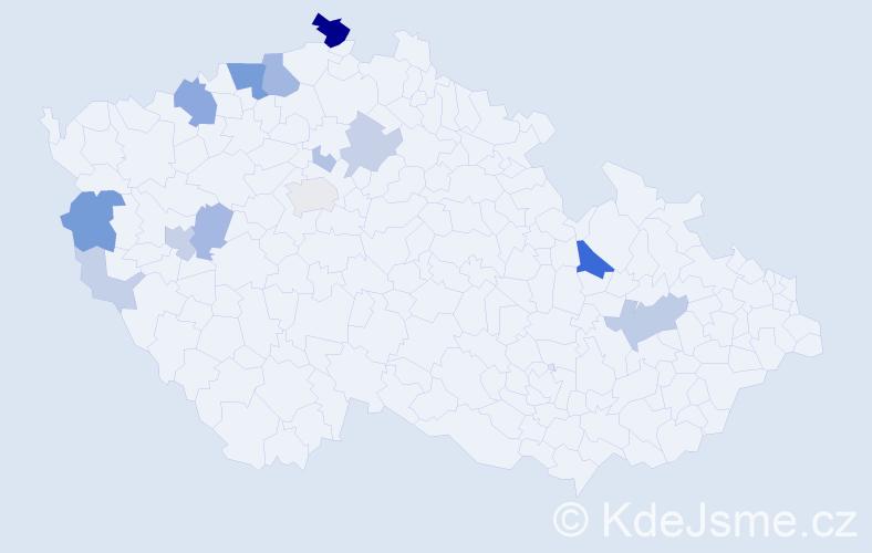 Příjmení: 'Goth', počet výskytů 47 v celé ČR